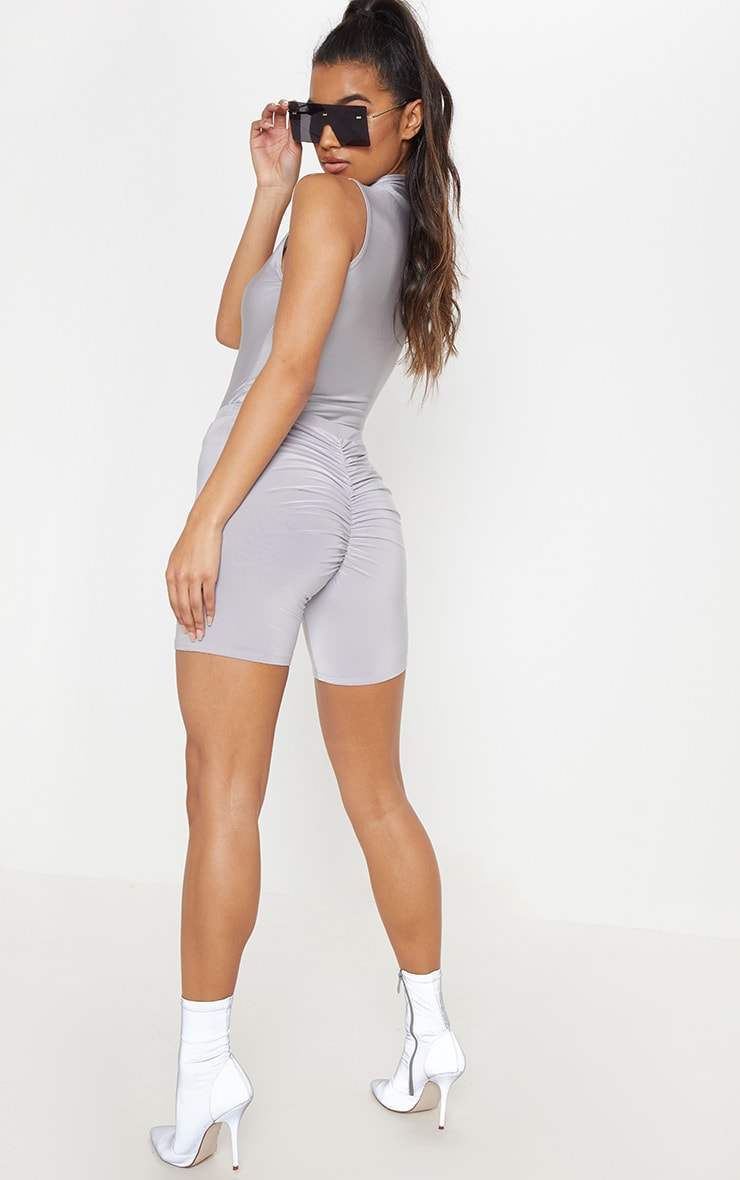 Silver Grey Slinky Ruched Bum Cycle Short 1
