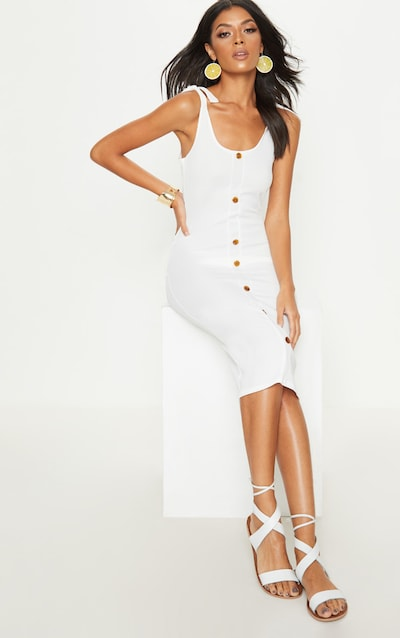 White Ribbed Tie Shoulder Tortoise Shell On Down Midi Dress