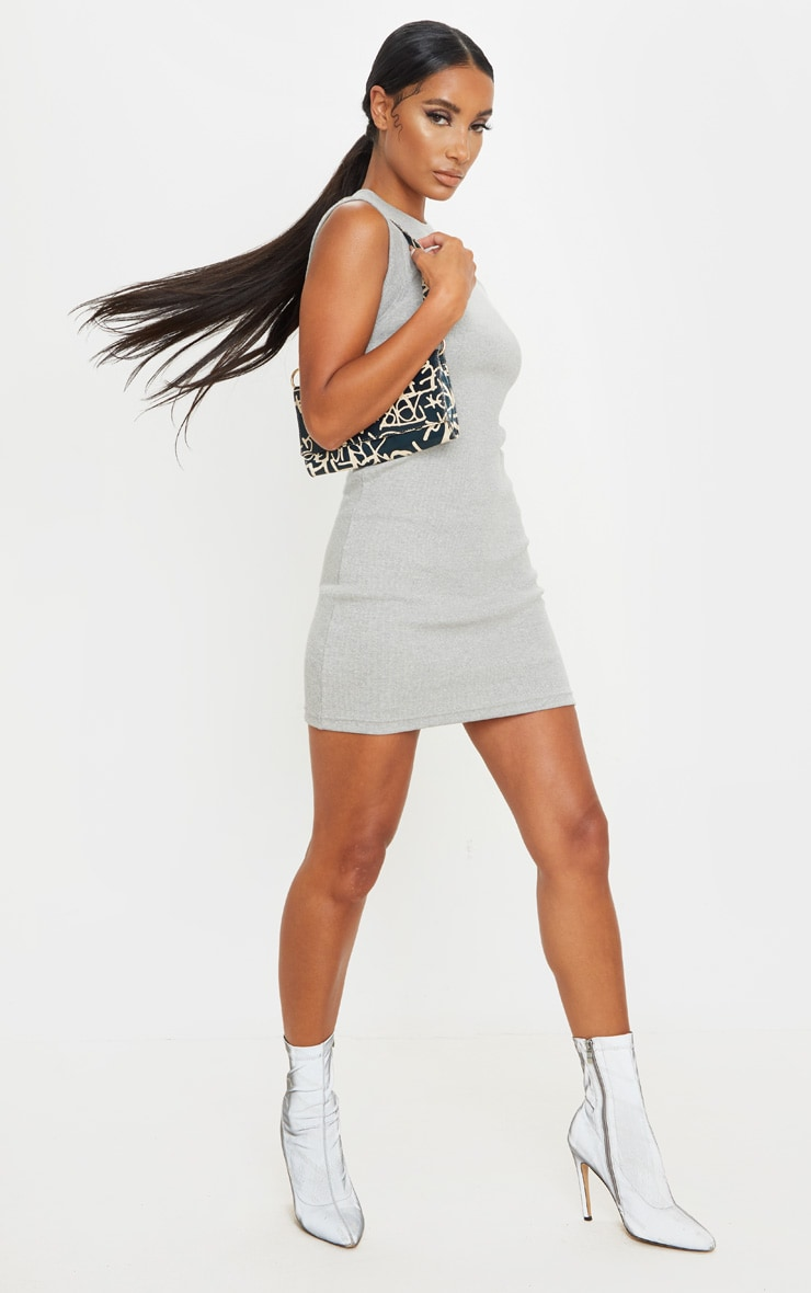 Grey Round Neck Ribbed Mini Dress 3