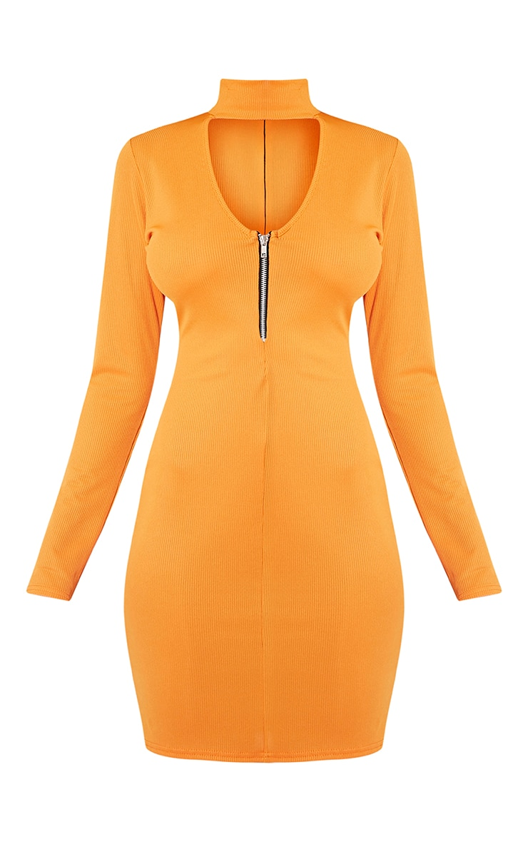 Marlene Bright Orange Zip Detail Ribbed Bodycon Dress 3
