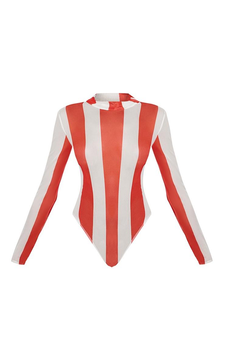 Red Printed Mesh Long Sleeve Bodysuit 3
