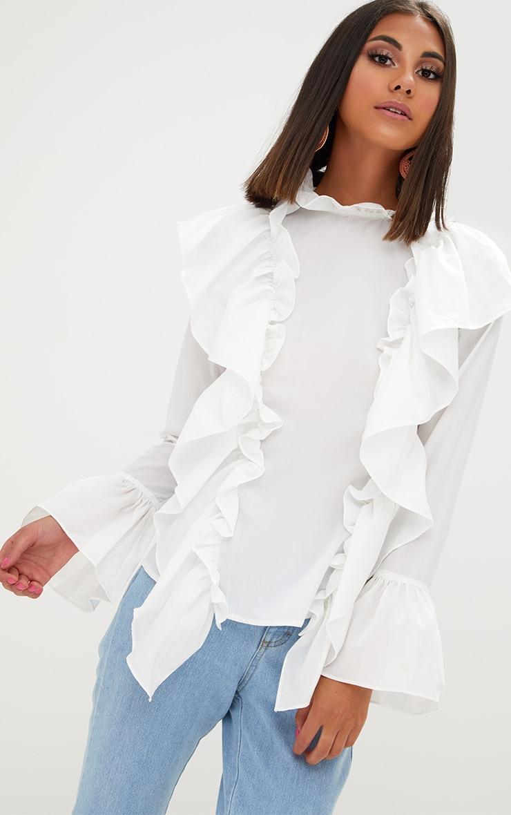White Ruffle Frill High Neck Shirt 1