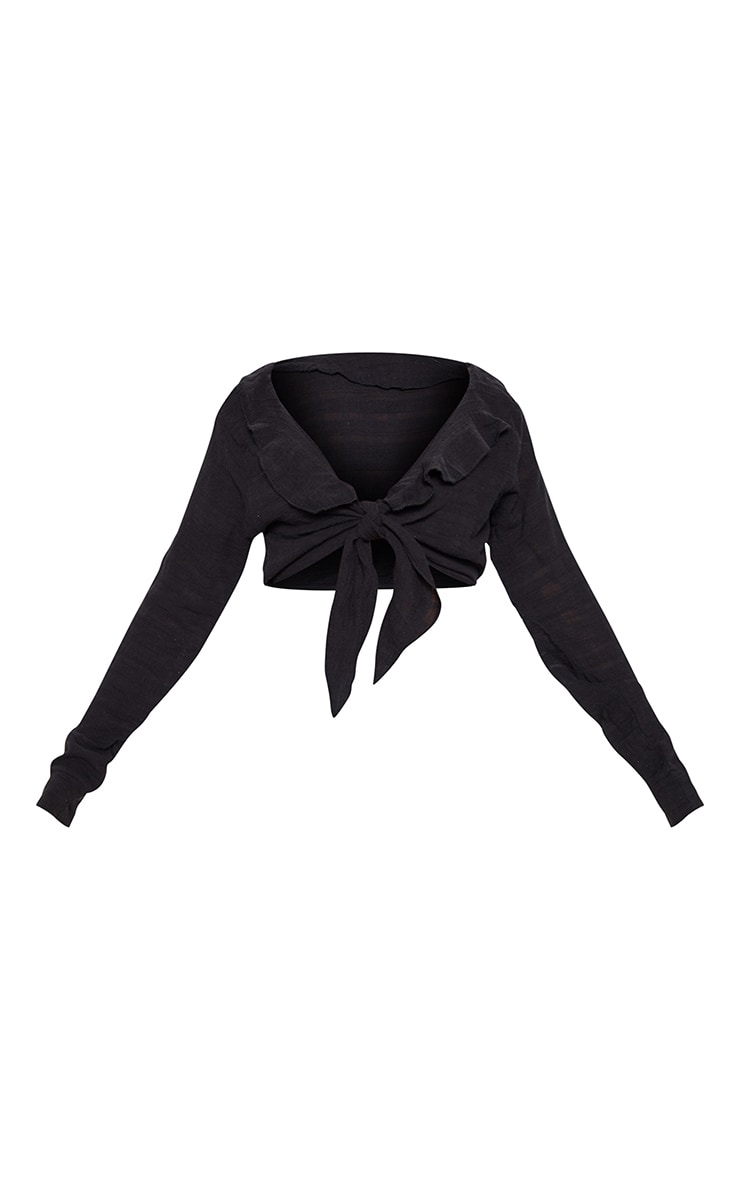 Black Cheesecloth Tie Front Blouse 3
