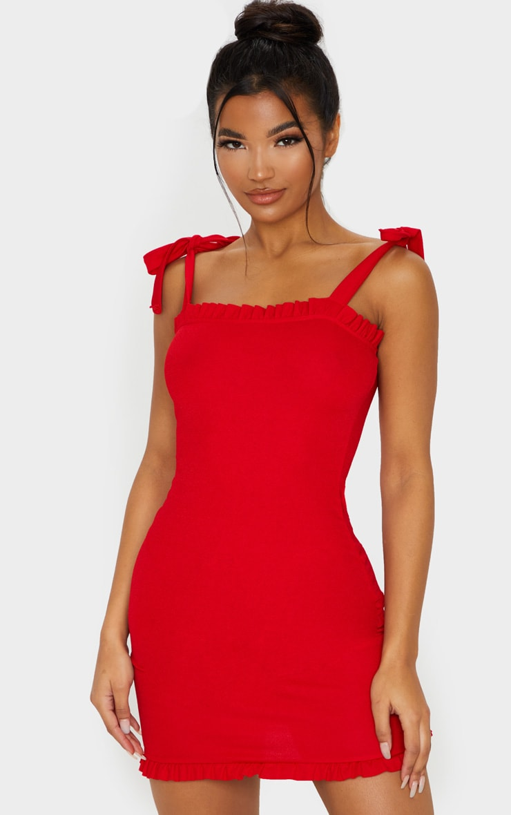 Red Tie Shoulder Frill Detail Bodycon Dress 1