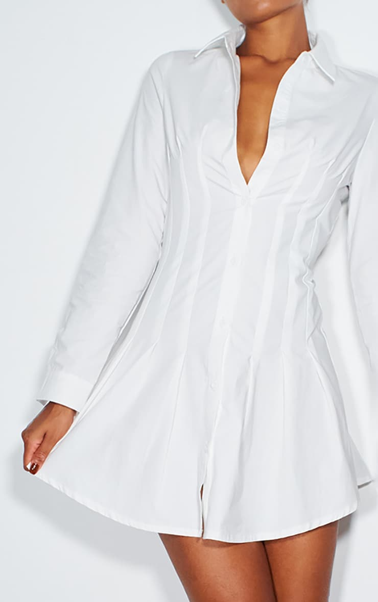 White Pleated Corset Detail Skater Shirt Dress 3
