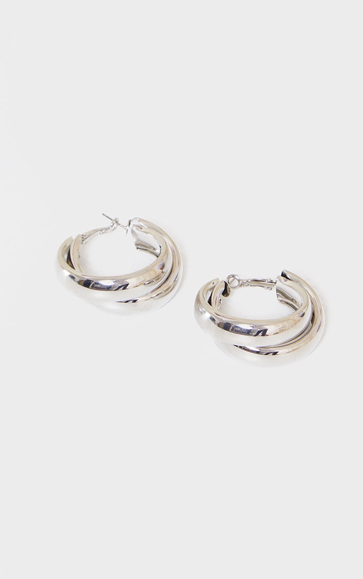 Silver Double Chunky Overlapped Hoop Earrings 2