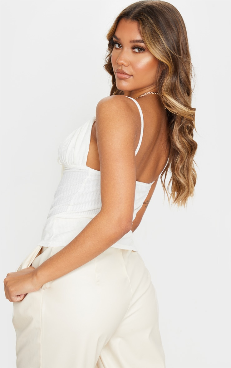 Cream Waffle Ruched Bust Cami Top 2