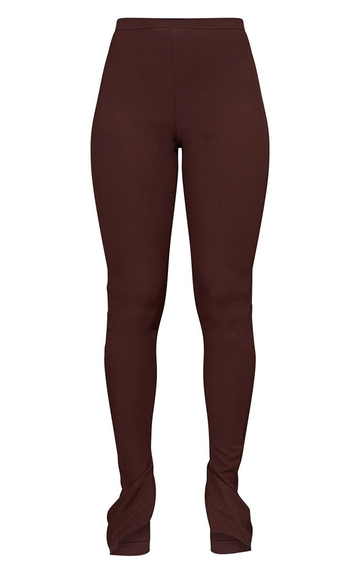 Brown Ribbed Split Hem Leggings 5