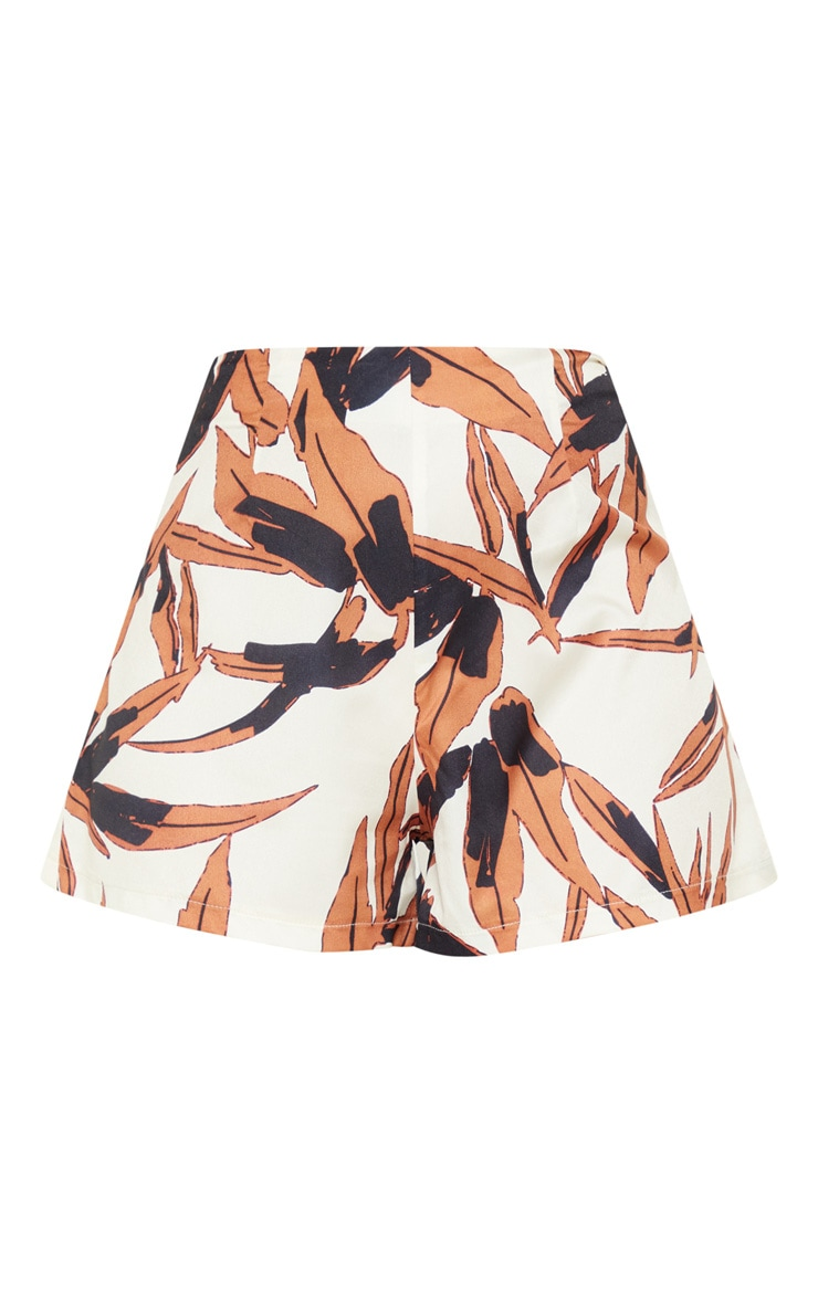 Black Tropical Print High Waisted Short 3