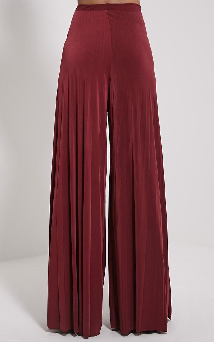 Samantha Oxblood Slinky Pleated Wide Leg Trousers 4