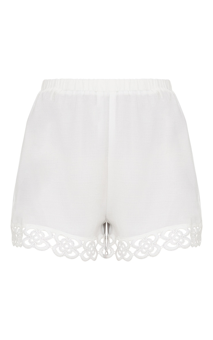 Petite White Crochet Trim Shorts 3
