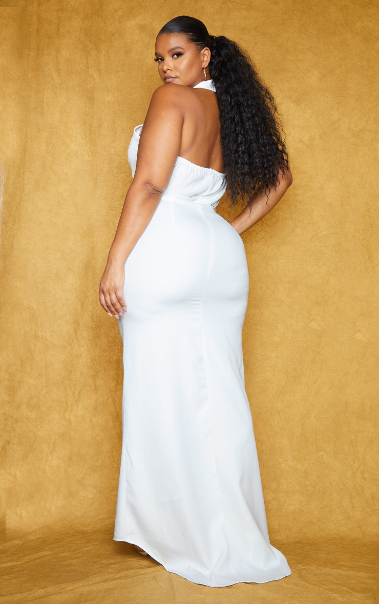 Plus White Corset Detail Cross Front Maxi Dress 2