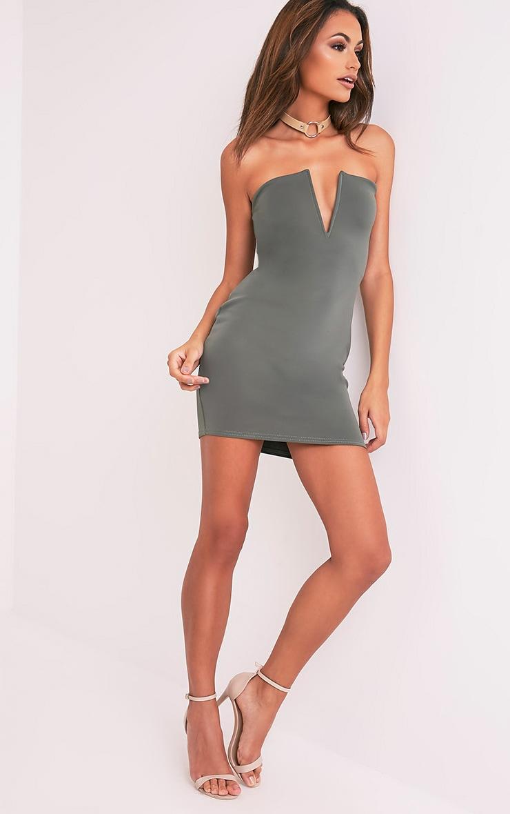 Sofia Khaki V Plunge Bandeau Bodycon Dress 5