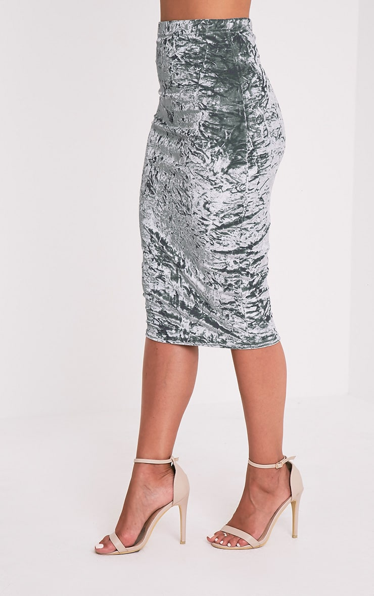 Lacy Silver Crushed Velvet Midi Skirt 4