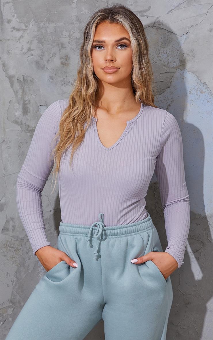 Grey Wide Rib V Cut Out Long Sleeve Bodysuit 1
