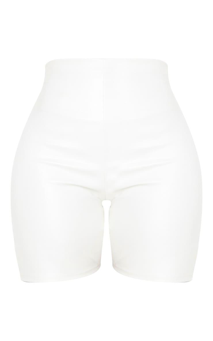 Shape Cream PU High Waisted Cycling Shorts 3