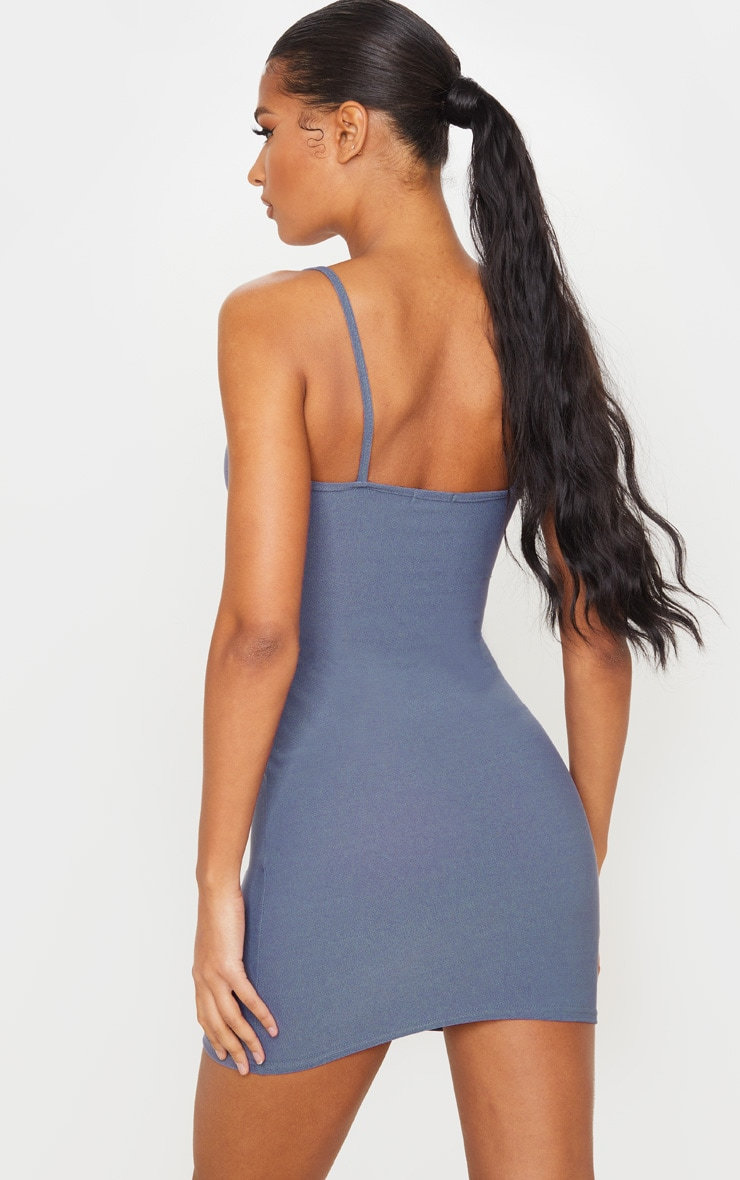 Grey Strappy Straight Neck Bodycon Dress 2