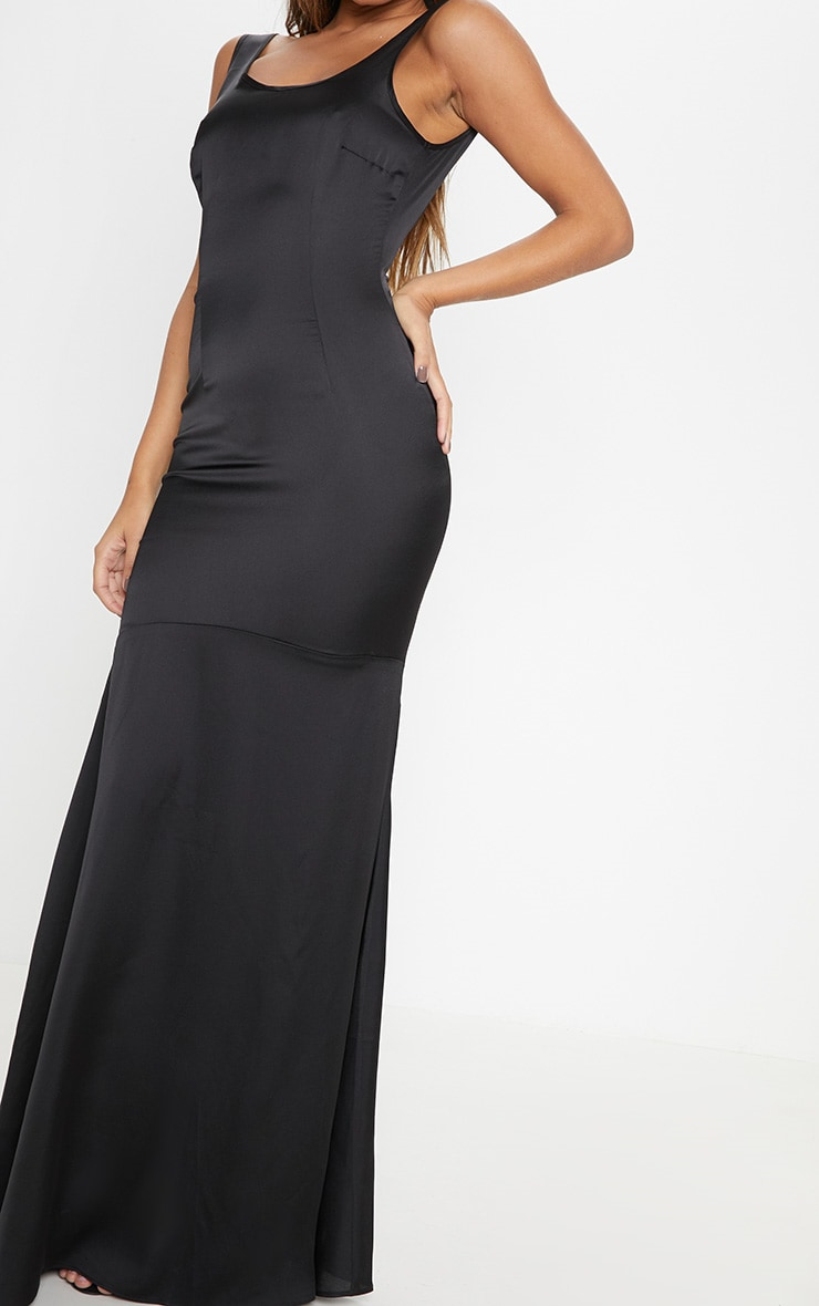 Black Satin Thick Strap Fishtail Maxi Dress 5