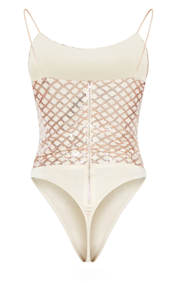 Rose Gold Strappy Sequin Straight Neck Bodysuit 4