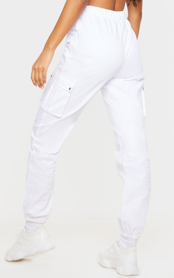 White Pocket Detail Cargo Pants 3