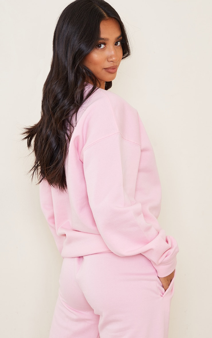 PRETTYLITTLETHING Petite Pink Oversized Sweater 2
