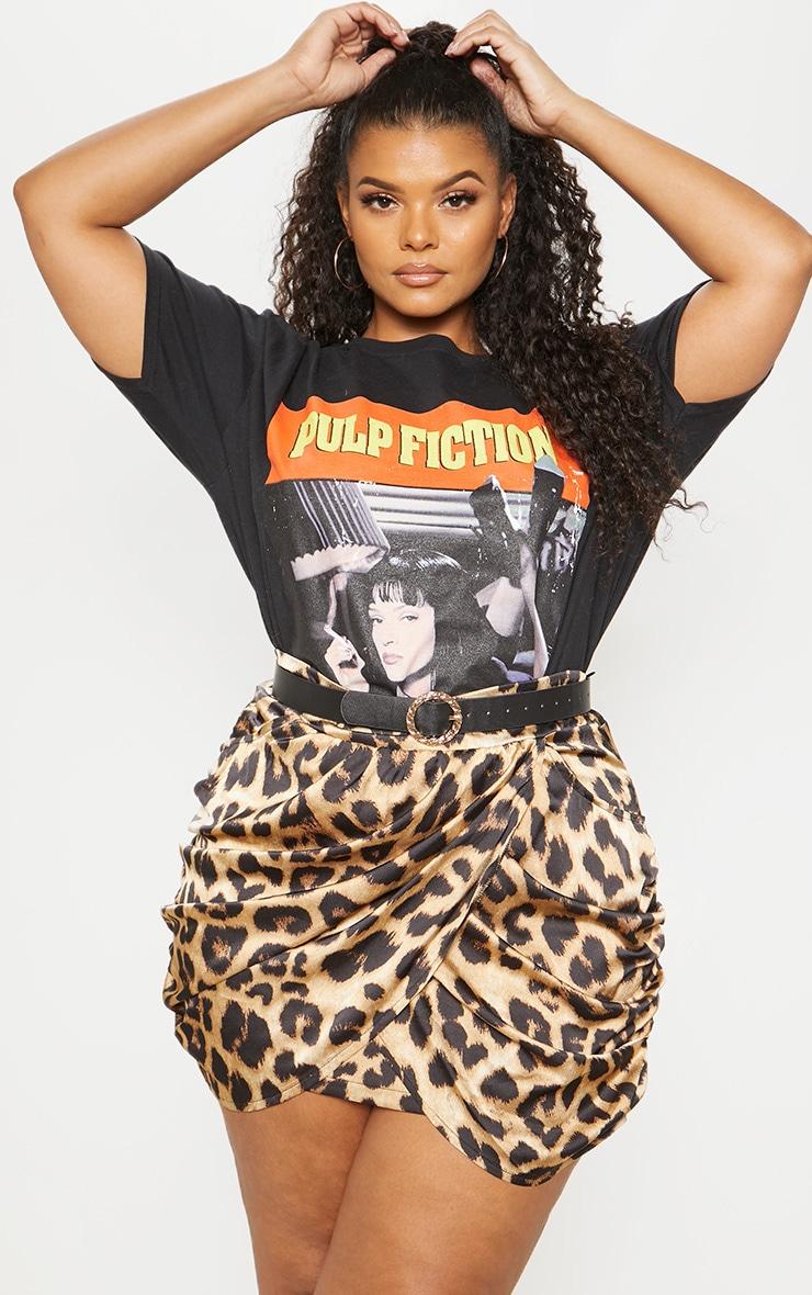 Plus Brown Satin Leopard Print Gathered Mini Skirt 5