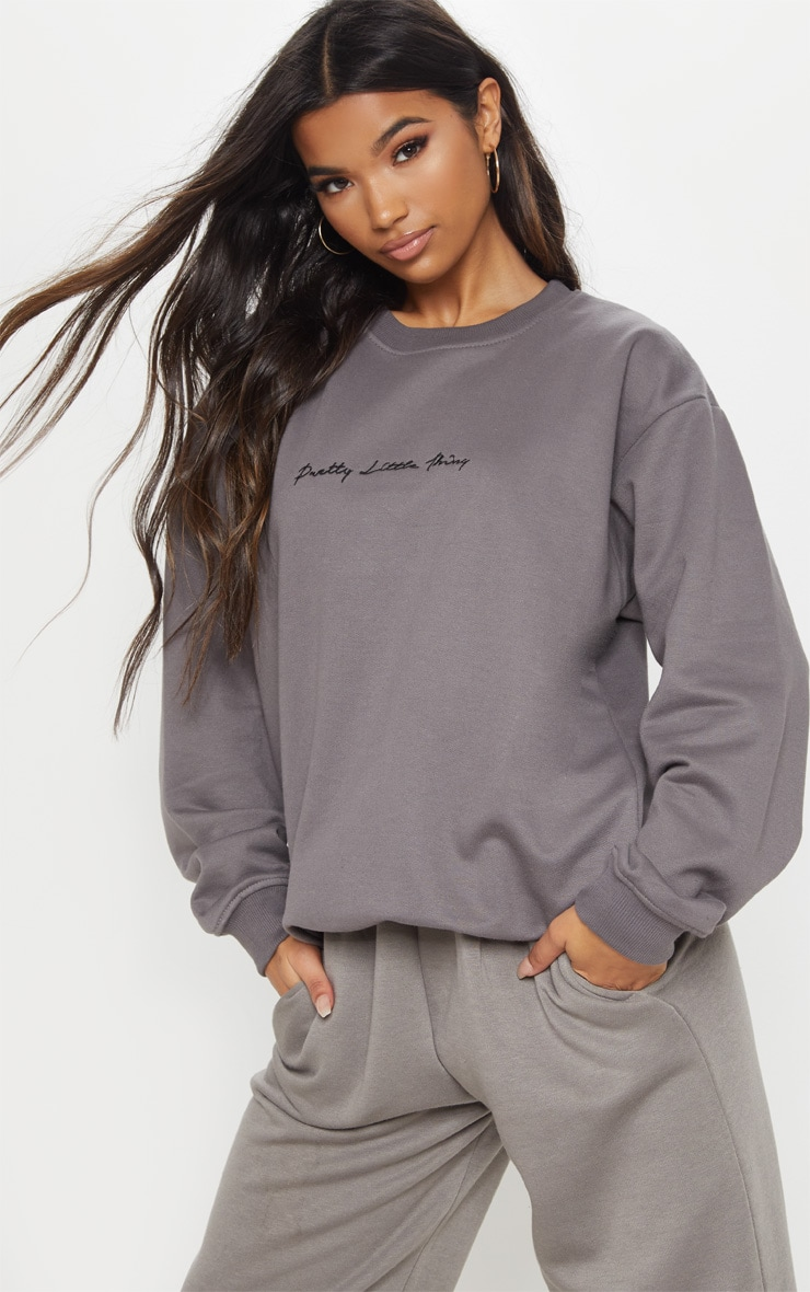 PRETTYLITTLETHING Charcoal Grey Embroidered Oversized Sweater 1
