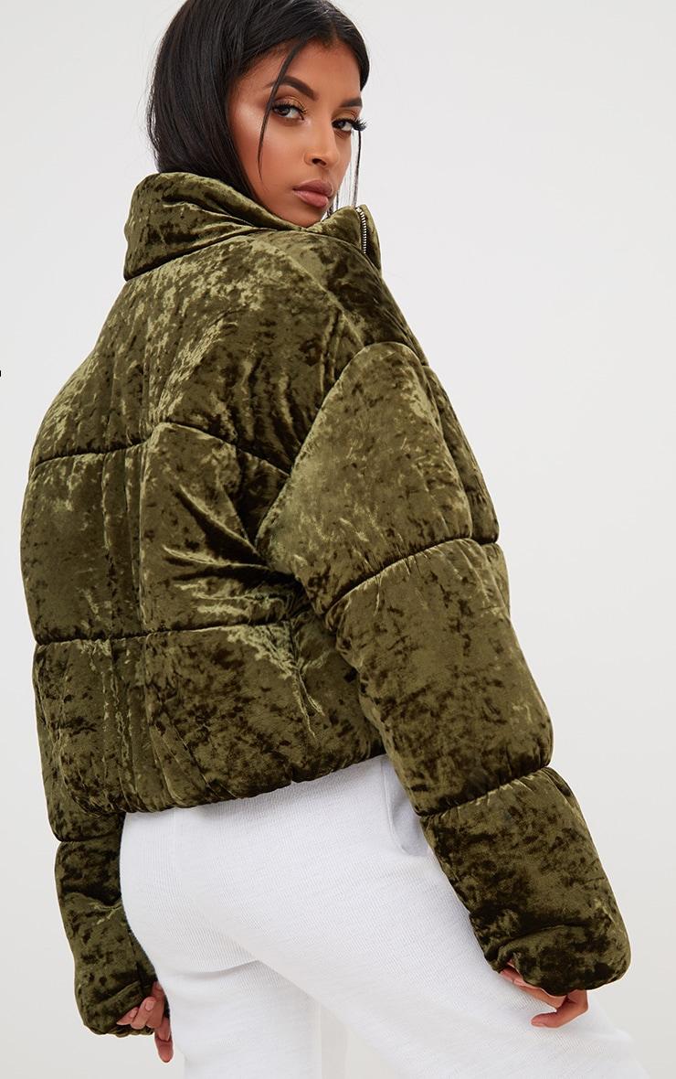 Khaki Velvet Cropped Puffer Coat 2