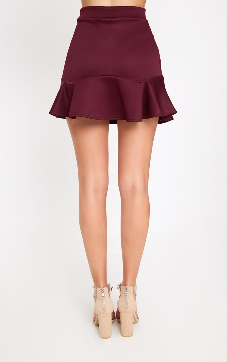 Burgundy Flippy Hem Mini Skirt 4