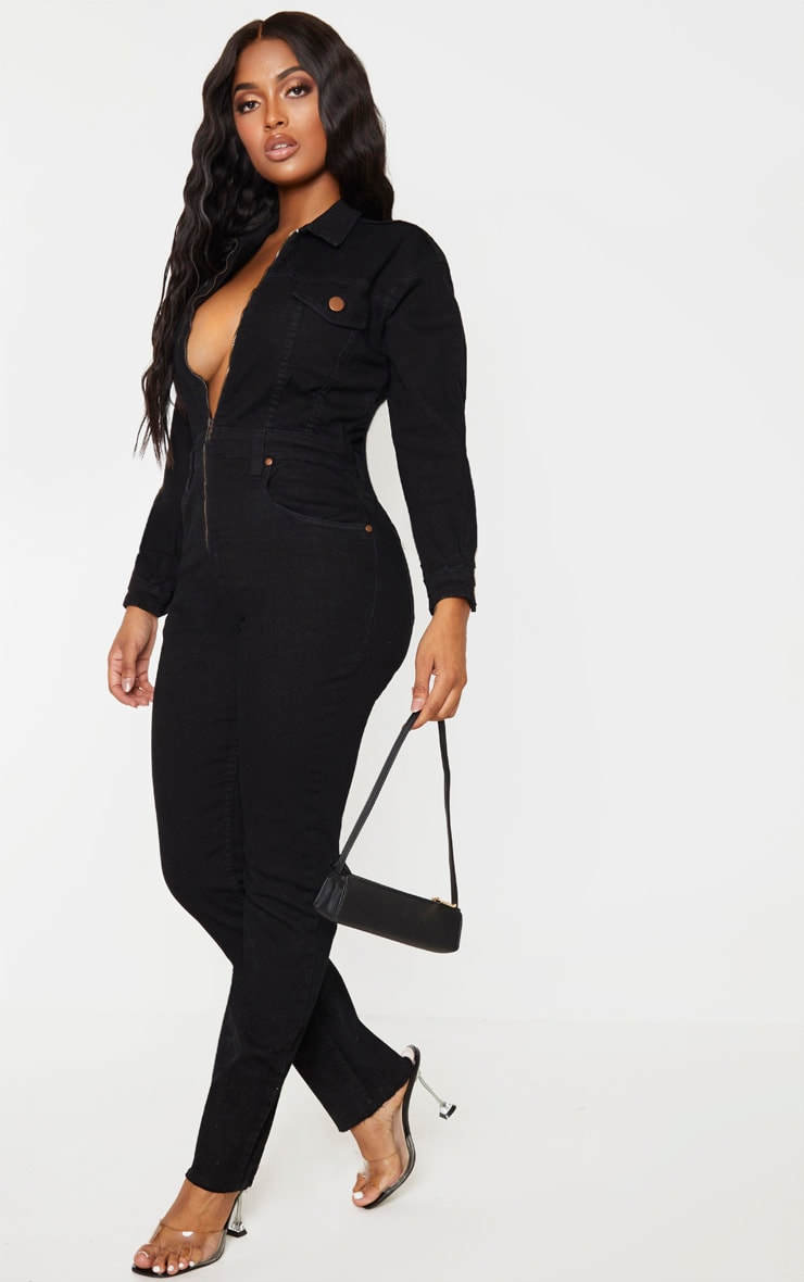 Shape Black Denim Zip Front Jumpsuit 4