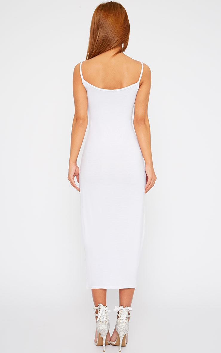 Basic White Midi Vest Dress 2