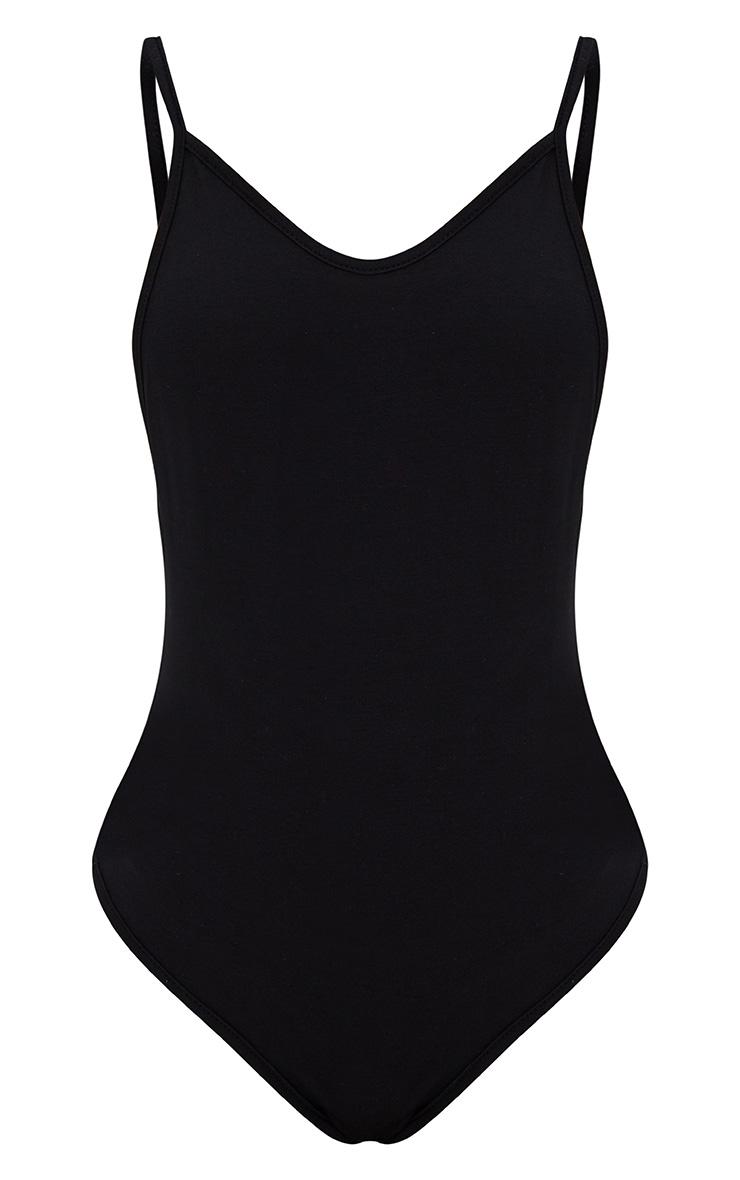 Basic Black Drop Back Strappy Thong Bodysuit 3