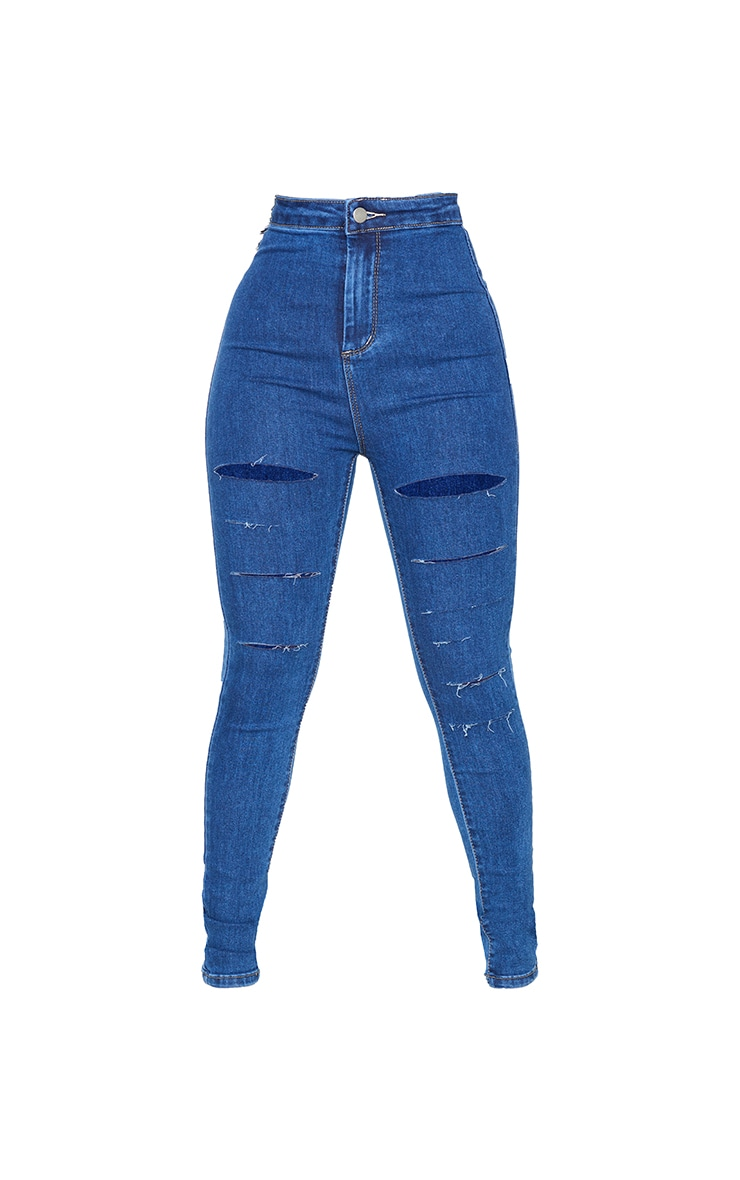 PRETTYLITTLETHING Petite Mid Blue Wash Rip Ripped Disco Skinny Jeans 5