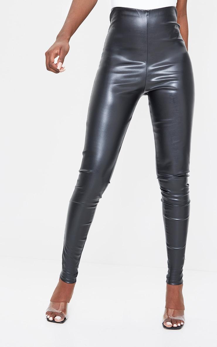 Tall Black Basic Faux Leather High Waist Leggings 2