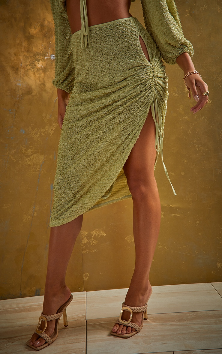 Green Textured Cut Out Ruched Side Beach Skirt 2