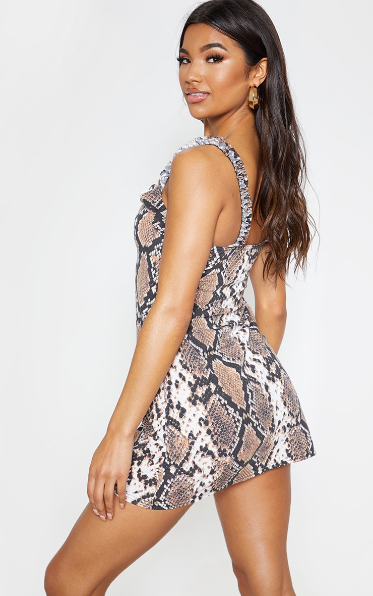 Snake Print Frill Detail Shift Dress 2