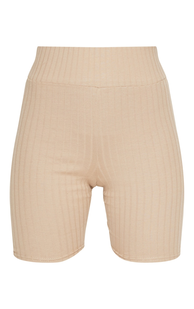 Taupe Rib High Waisted Cycling Shorts 3