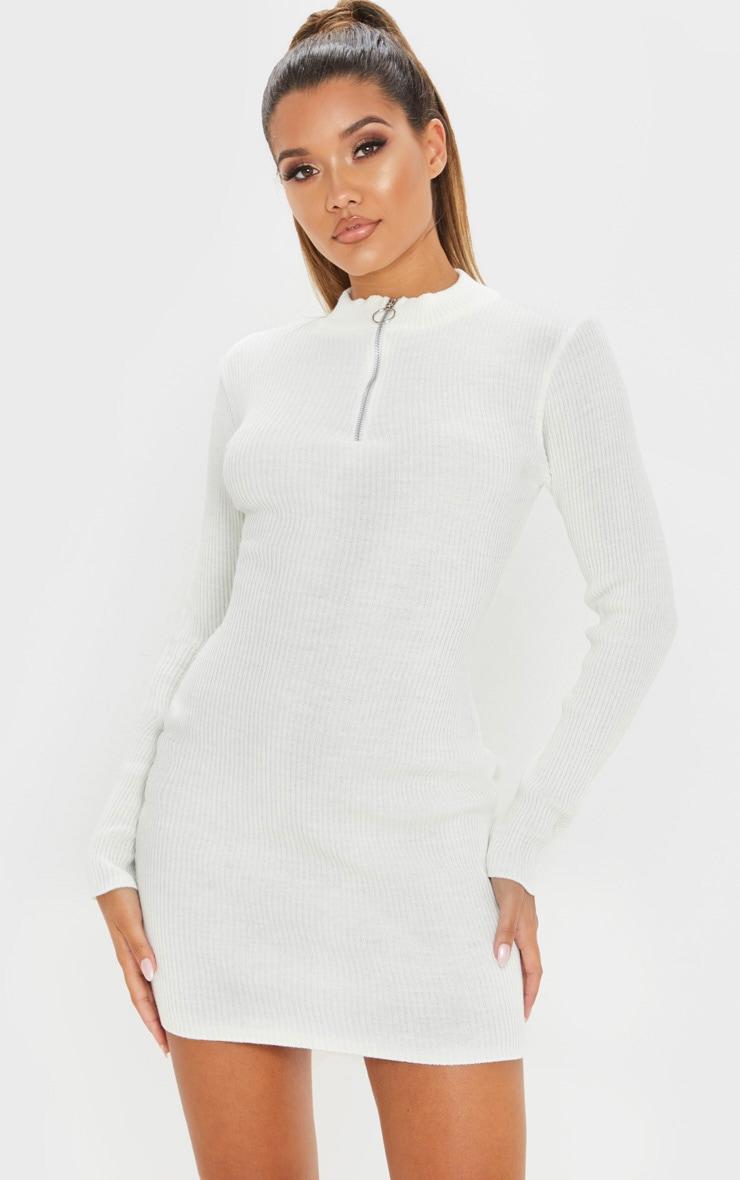 Cream High Neck Zip Front Rib Knit Dress 1