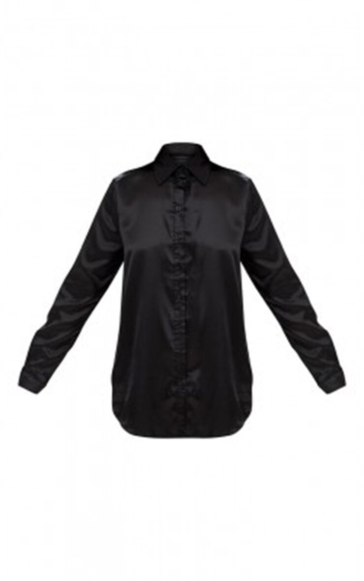 Black Satin Button Front Shirt 3