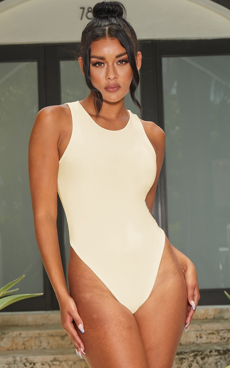 Cream Slinky Racer Sleeveless Bodysuit 2