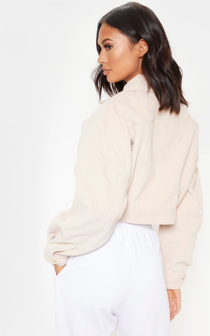 Stone Cropped Cord Oversized Trucker Jacket 2