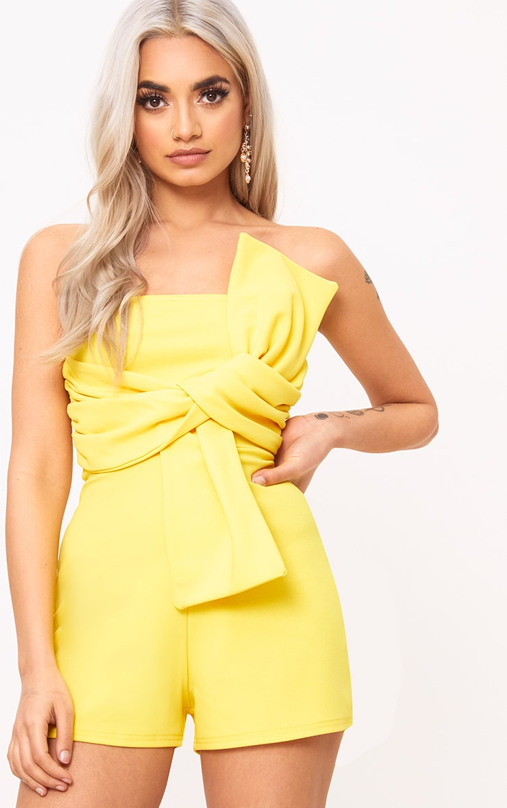Yellow Bow Bardot Playsuit 1
