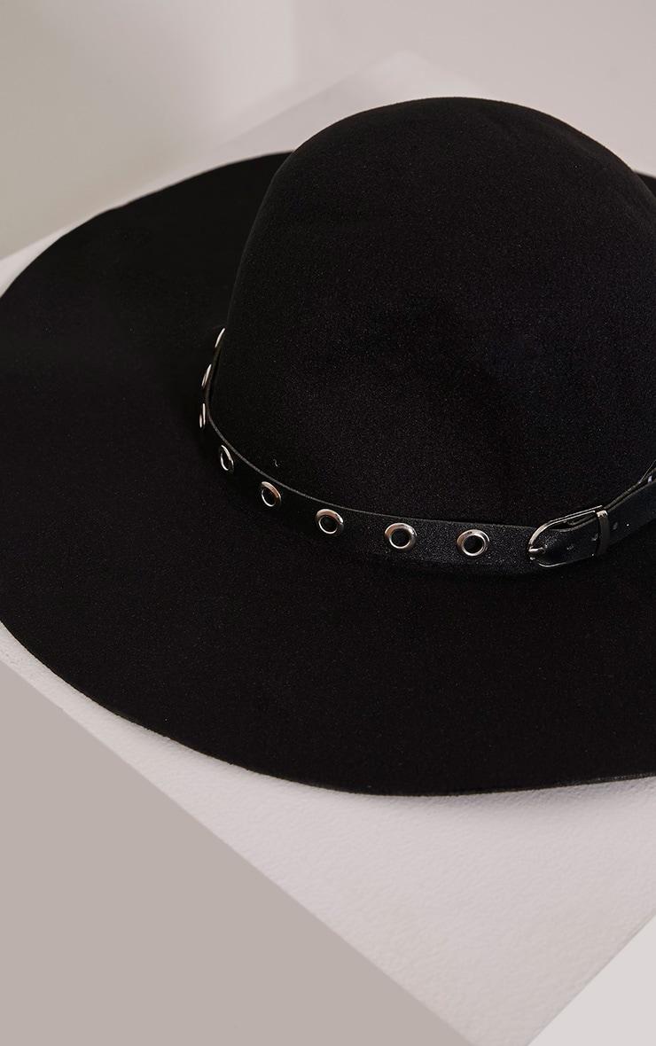 Leelah Black Eyelet Trim Floppy Hat 4