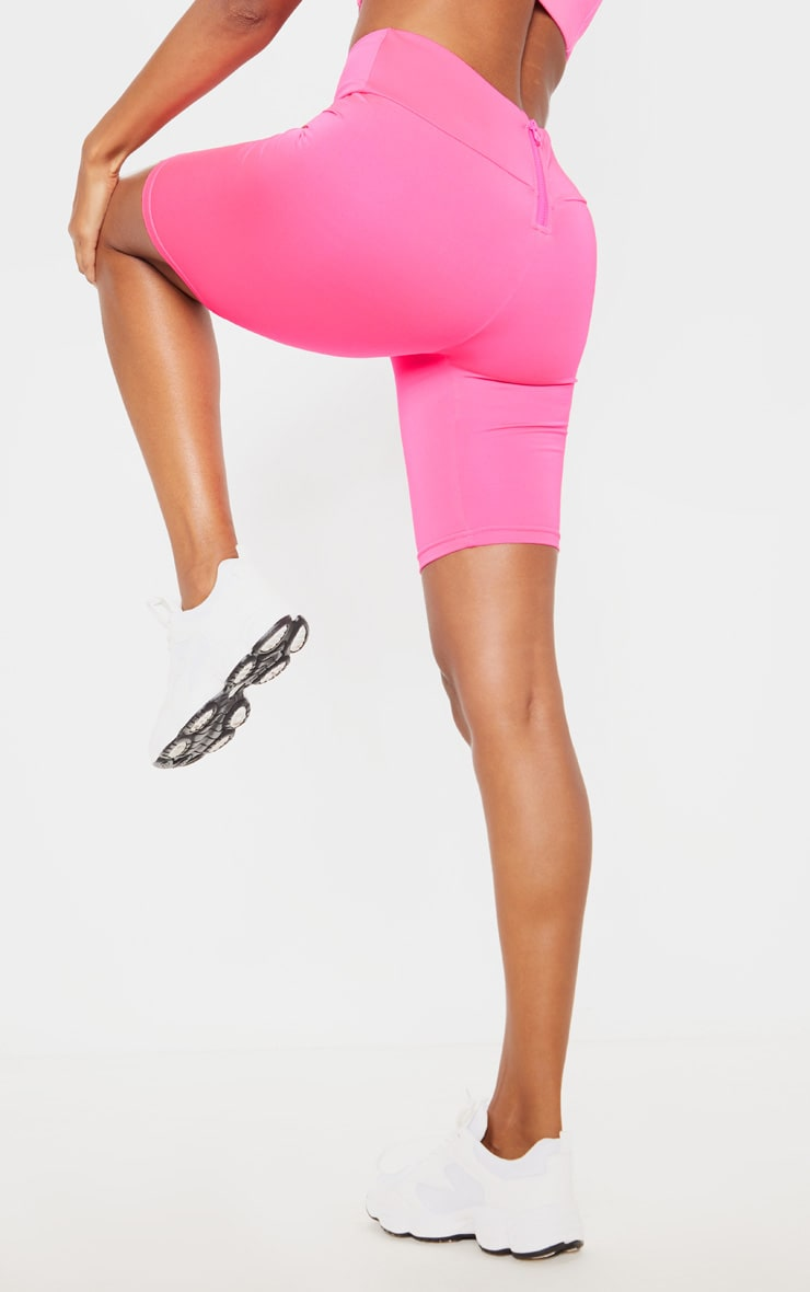 Hot Pink High Waisted Gym Cycle Shorts 4