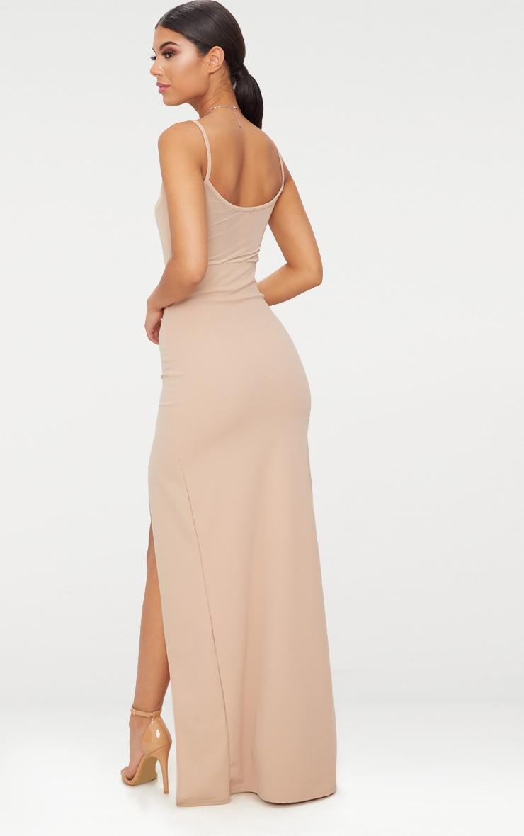 Stone Mesh Panelled Strappy Extreme Split Maxi Dress 2