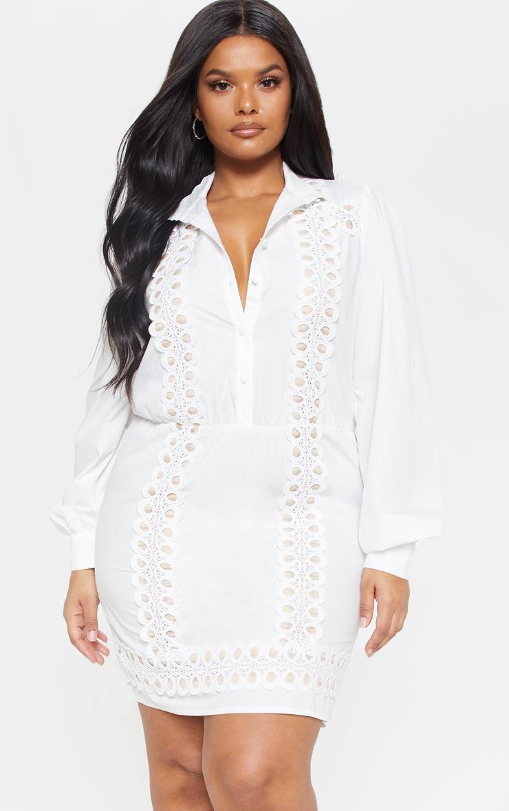 Plus White Lace Panel Shirt Dress 1