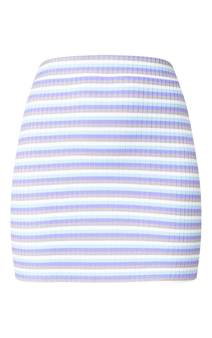 Lilac Ribbed Stripe Mini Skirt 3