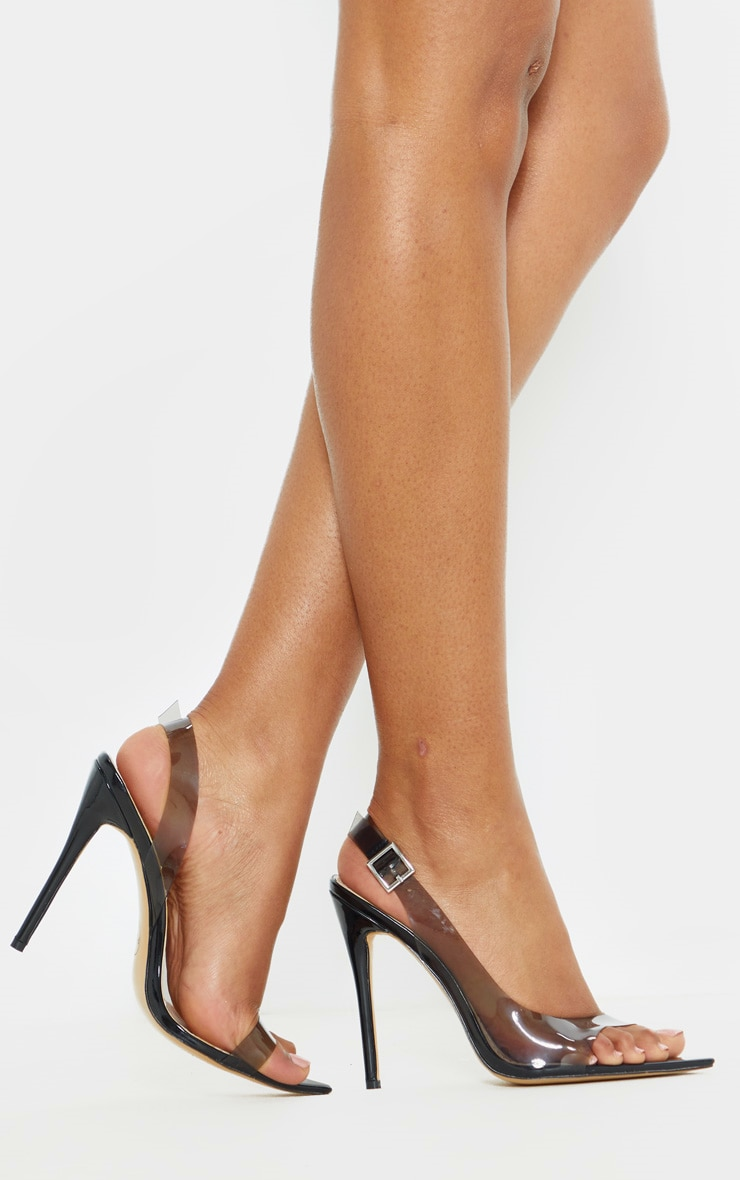 Black Slingback Point Toe Heeled Sandal  1