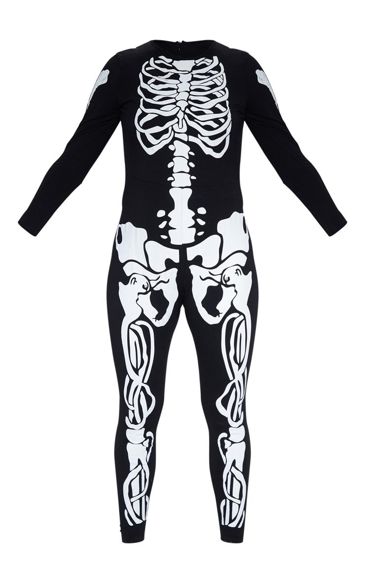 Plus Black Skeleton Print Long Sleeve Jumpsuit 3