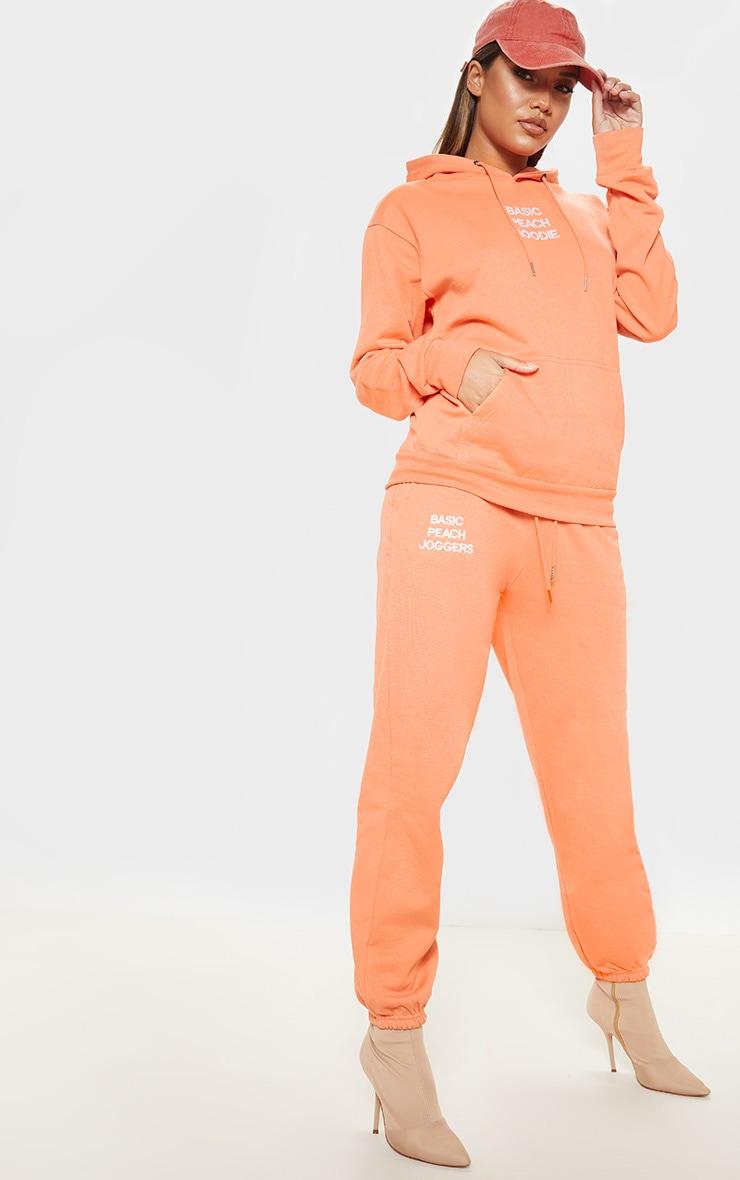 Peach Basic Slogan Casual Jogger 1